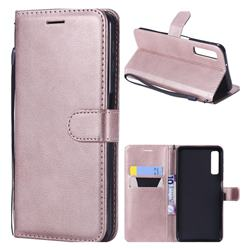 Retro Greek Classic Smooth PU Leather Wallet Phone Case for Samsung Galaxy A7 (2018) - Rose Gold