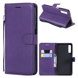 Retro Greek Classic Smooth PU Leather Wallet Phone Case for Samsung Galaxy A7 (2018) - Purple