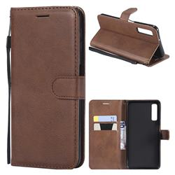 Retro Greek Classic Smooth PU Leather Wallet Phone Case for Samsung Galaxy A7 (2018) - Brown