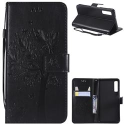 Embossing Butterfly Tree Leather Wallet Case for Samsung Galaxy A7 (2018) - Black