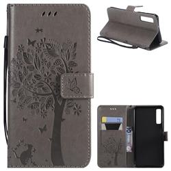Embossing Butterfly Tree Leather Wallet Case for Samsung Galaxy A7 (2018) - Grey