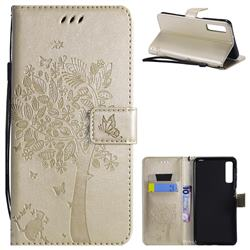Embossing Butterfly Tree Leather Wallet Case for Samsung Galaxy A7 (2018) - Champagne