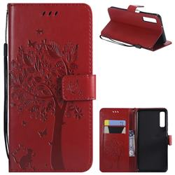 Embossing Butterfly Tree Leather Wallet Case for Samsung Galaxy A7 (2018) - Red