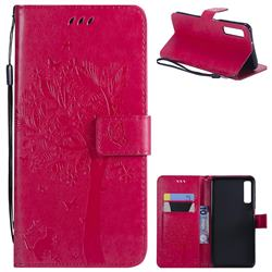 Embossing Butterfly Tree Leather Wallet Case for Samsung Galaxy A7 (2018) - Rose