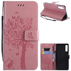 Embossing Butterfly Tree Leather Wallet Case for Samsung Galaxy A7 (2018) - Pink