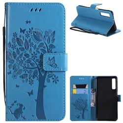 Embossing Butterfly Tree Leather Wallet Case for Samsung Galaxy A7 (2018) - Blue