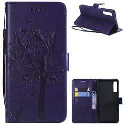 Embossing Butterfly Tree Leather Wallet Case for Samsung Galaxy A7 (2018) - Purple