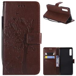 Embossing Butterfly Tree Leather Wallet Case for Samsung Galaxy A7 (2018) - Coffee