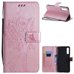 Embossing Butterfly Tree Leather Wallet Case for Samsung Galaxy A7 (2018) - Rose Pink