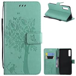 Embossing Butterfly Tree Leather Wallet Case for Samsung Galaxy A7 (2018) - Cyan