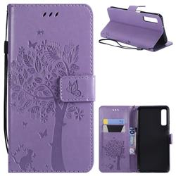 Embossing Butterfly Tree Leather Wallet Case for Samsung Galaxy A7 (2018) - Violet