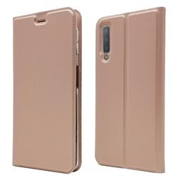 Ultra Slim Card Magnetic Automatic Suction Leather Wallet Case for Samsung Galaxy A7 (2018) - Rose Gold