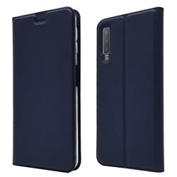 Ultra Slim Card Magnetic Automatic Suction Leather Wallet Case for Samsung Galaxy A7 (2018) - Royal Blue