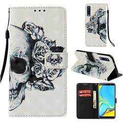 Skull Flower 3D Painted Leather Wallet Case for Samsung Galaxy A7 (2018)