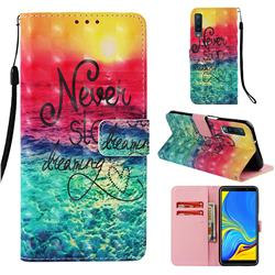 Colorful Dream Catcher 3D Painted Leather Wallet Case for Samsung Galaxy A7 (2018)