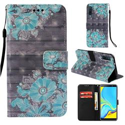 Blue Flower 3D Painted Leather Wallet Case for Samsung Galaxy A7 (2018)