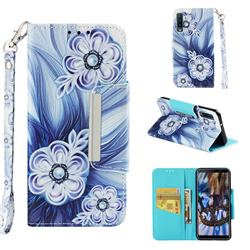 Button Flower Big Metal Buckle PU Leather Wallet Phone Case for Samsung Galaxy A7 (2018)
