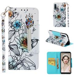 Fotus Flower Big Metal Buckle PU Leather Wallet Phone Case for Samsung Galaxy A7 (2018)