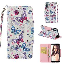 Colored Butterfly Big Metal Buckle PU Leather Wallet Phone Case for Samsung Galaxy A7 (2018)