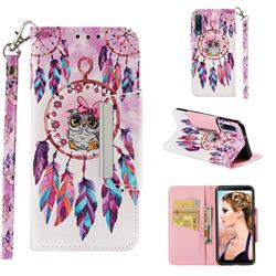 Owl Wind Chimes Big Metal Buckle PU Leather Wallet Phone Case for Samsung Galaxy A7 (2018)
