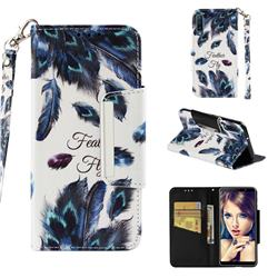Peacock Feather Big Metal Buckle PU Leather Wallet Phone Case for Samsung Galaxy A7 (2018)