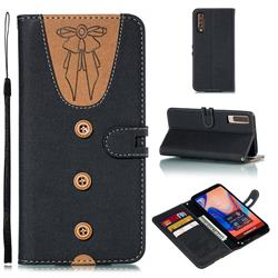 Ladies Bow Clothes Pattern Leather Wallet Phone Case for Samsung Galaxy A7 (2018) - Black