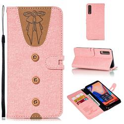 Ladies Bow Clothes Pattern Leather Wallet Phone Case for Samsung Galaxy A7 (2018) - Pink