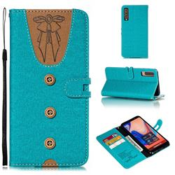 Ladies Bow Clothes Pattern Leather Wallet Phone Case for Samsung Galaxy A7 (2018) - Green