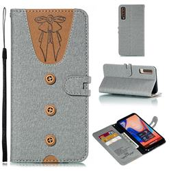 Ladies Bow Clothes Pattern Leather Wallet Phone Case for Samsung Galaxy A7 (2018) - Gray