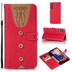 Ladies Bow Clothes Pattern Leather Wallet Phone Case for Samsung Galaxy A7 (2018) - Red