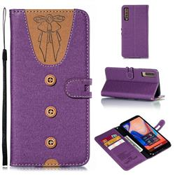 Ladies Bow Clothes Pattern Leather Wallet Phone Case for Samsung Galaxy A7 (2018) - Purple
