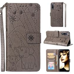 Embossing Fireworks Elephant Leather Wallet Case for Samsung Galaxy A7 (2018) - Gray