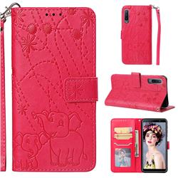 Embossing Fireworks Elephant Leather Wallet Case for Samsung Galaxy A7 (2018) - Red
