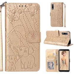 Embossing Fireworks Elephant Leather Wallet Case for Samsung Galaxy A7 (2018) - Golden