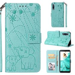 Embossing Fireworks Elephant Leather Wallet Case for Samsung Galaxy A7 (2018) - Green
