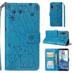 Embossing Fireworks Elephant Leather Wallet Case for Samsung Galaxy A7 (2018) - Blue