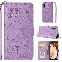 Embossing Fireworks Elephant Leather Wallet Case for Samsung Galaxy A7 (2018) - Purple