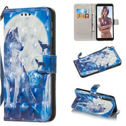 Ice Wolf 3D Painted Leather Wallet Phone Case for Samsung Galaxy A7 (2018)