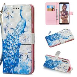 Blue Peacock 3D Painted Leather Wallet Phone Case for Samsung Galaxy A7 (2018)