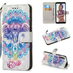 Colorful Elephant 3D Painted Leather Wallet Phone Case for Samsung Galaxy A7 (2018)