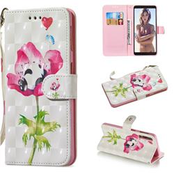 Flower Panda 3D Painted Leather Wallet Phone Case for Samsung Galaxy A7 (2018)
