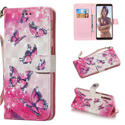 Pink Butterfly 3D Painted Leather Wallet Phone Case for Samsung Galaxy A7 (2018)