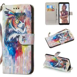 Watercolor Owl 3D Painted Leather Wallet Phone Case for Samsung Galaxy A7 (2018)