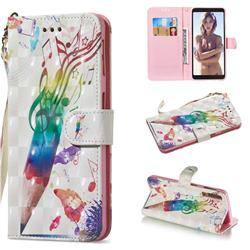 Music Pen 3D Painted Leather Wallet Phone Case for Samsung Galaxy A7 (2018)