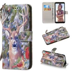 Elk Deer 3D Painted Leather Wallet Phone Case for Samsung Galaxy A7 (2018)