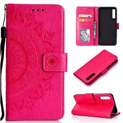 Intricate Embossing Datura Leather Wallet Case for Samsung Galaxy A7 (2018) - Rose Red