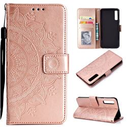 Intricate Embossing Datura Leather Wallet Case for Samsung Galaxy A7 (2018) - Rose Gold