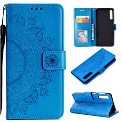 Intricate Embossing Datura Leather Wallet Case for Samsung Galaxy A7 (2018) - Blue