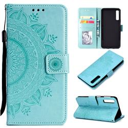 Intricate Embossing Datura Leather Wallet Case for Samsung Galaxy A7 (2018) - Mint Green