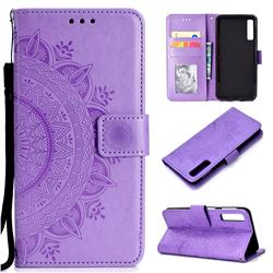 Intricate Embossing Datura Leather Wallet Case for Samsung Galaxy A7 (2018) - Purple